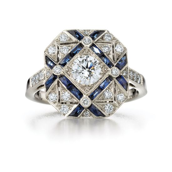 Sapphire and diamond trellis ring from the Kwiat Vintage Collection