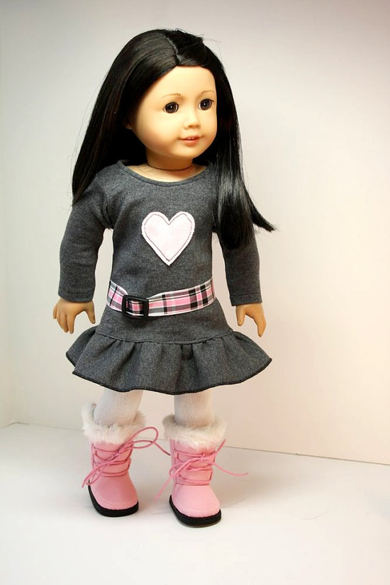 American Girl Soll Clothes-Dress with Appliqued Heart, Belt and Tights - using Liberty Jane Pattern