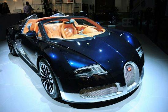 blue Bugatti Veyron car vehicle automobile