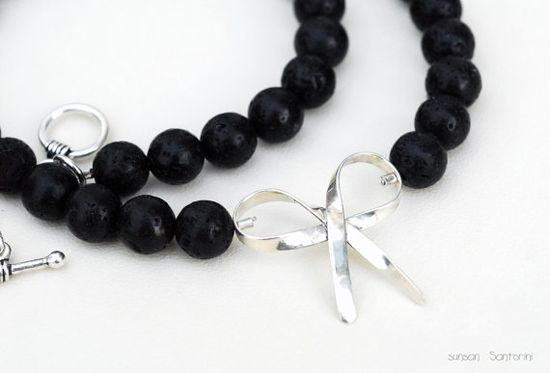 Lava Rock Necklace with Sterling Silver Ribbon by SunSan on Etsy, $153.00