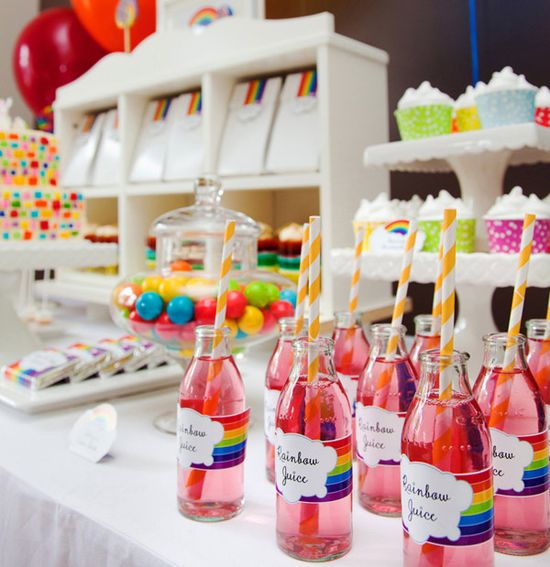 Love this rainbow party!  This site has cute party ideas.