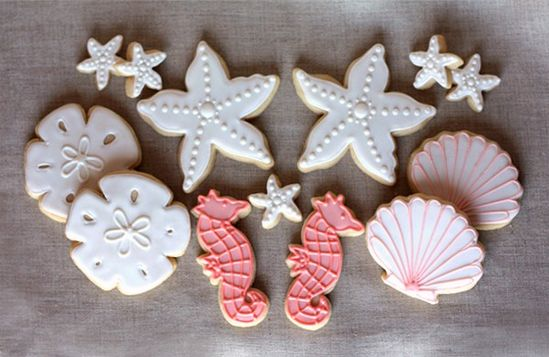 Hand Decorated Beach Themed Sugar Cookies