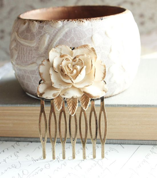Rose Hair Comb Ivory Cream Rose Gold Petals by apocketofposies, $25.00