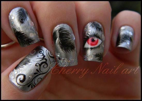 Nail art black swan by cherrynailart - Nail Art Gallery nailartgallery.na... by Nails Magazine www.nailsmag.com #nailart