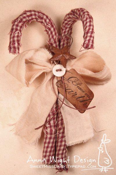 Primitive Candy Cane Ornament / Bowl Filler / Decor