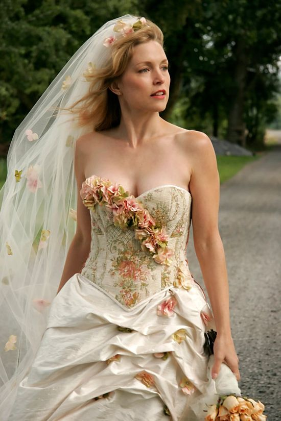 Colorful Garden Wedding Dress, Corset Wedding Dress, One of a Kind Wedding Dress