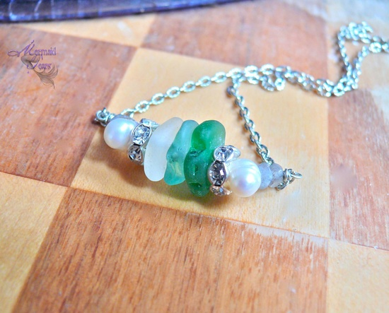 Sea Glass Necklace - Beach bride jewelry from Hawaii