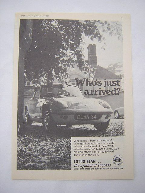 =-=Original Lotus Elan S4 Advert from 1969 - Sports Car Ad Advertisement
