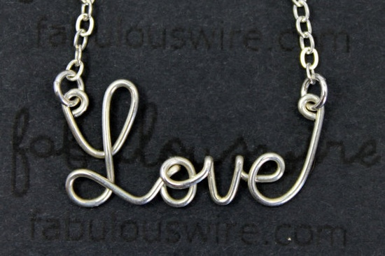 Love Word Necklace  Sterling silver Wire Jewelry by FabulousWire, $35.00