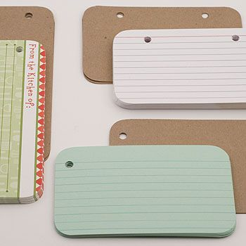 index cards in mini albums