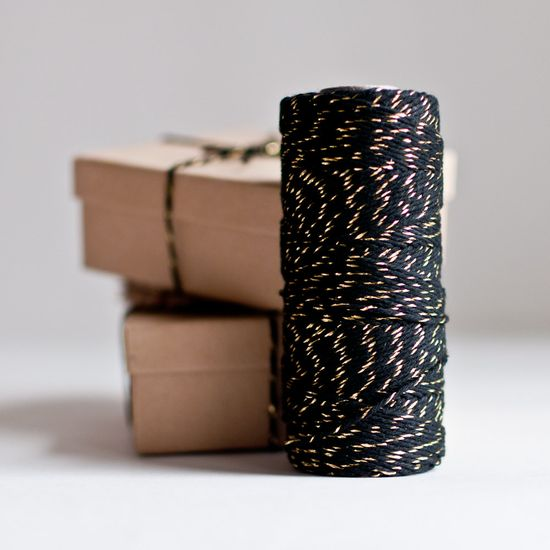 Black and metallic gold baker's twine from Knot & Bow - classy wrapping for small gifts! #erindollar