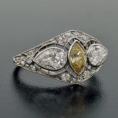 Edwardian Platinum & Natural Yellow Diamond Ring - Fancy yellow-color diamond in center circa 1910