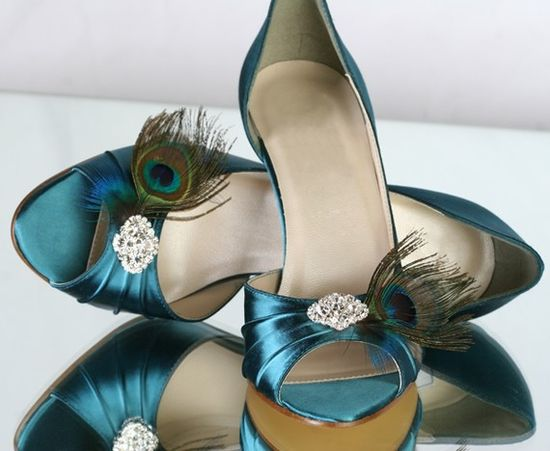 Rhinestone'd shoes in peacock blue.