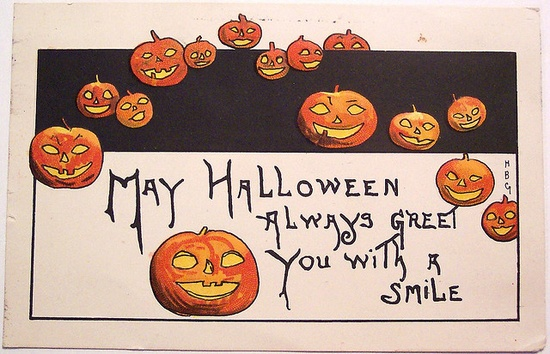 """Vintage Halloween Postcard ~ """"May Halloween Always Greet You With A Smile"""""""