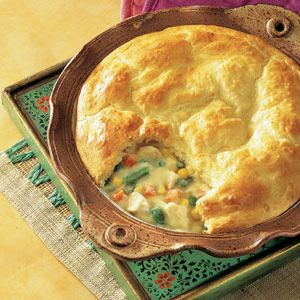 You can feel good about serving this comforting pot pie. It takes just 10 minutes to put together before baking, it's loaded with veggies and chicken, and the crust is made from reduced fat baking mix...so grab a fork and dig in!