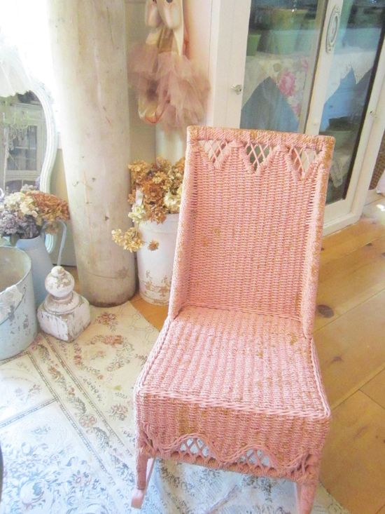 Vintage pink wicker rocking chair shabby chic victorian cottage chic.