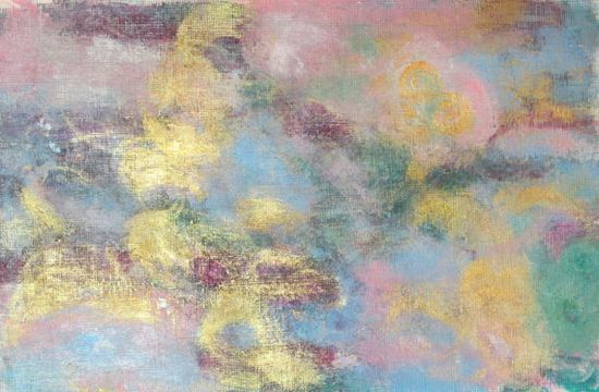 Original Abstract Painting with Light Blue Pink and by Jimarieart cool use of the gold!