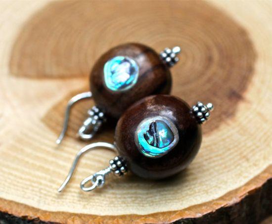 Abalone Earrings  Wood Earrings Summer Jewelry Amy FIne by amyfine