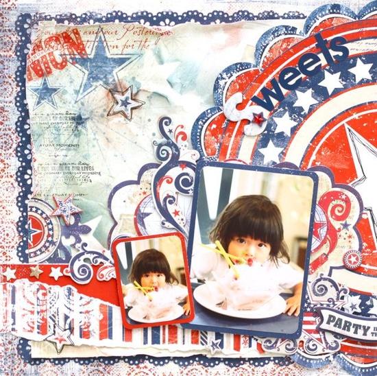Bo Bunny: Patriotic scrapbook Layout