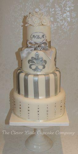 Swarovski Monogrammed Wedding Cake