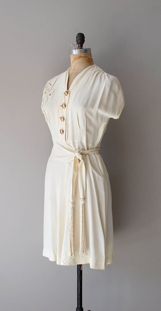 1940s Trapunto Scroll dress