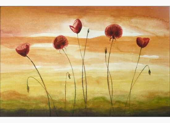 Watercolor, Red Poppy, Flower Painting, Original Art, Floral Painting, Field of Poppies, $32.00 USD