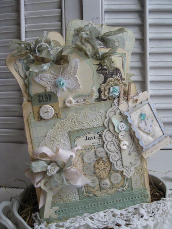shabby chic SPRING SEWING stitched pocket full of handmade tags treat bag decoration gift