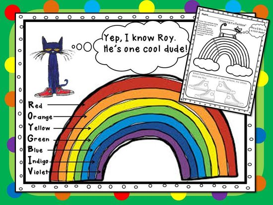 Pete the Cat helps your students learn the colors of the rainbow! Part of my Pete the Cat- I Love My White Shoes Unit!