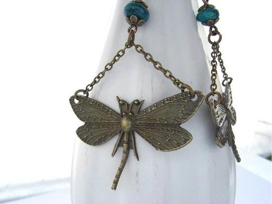 Steampunk dragonfly charm earrings