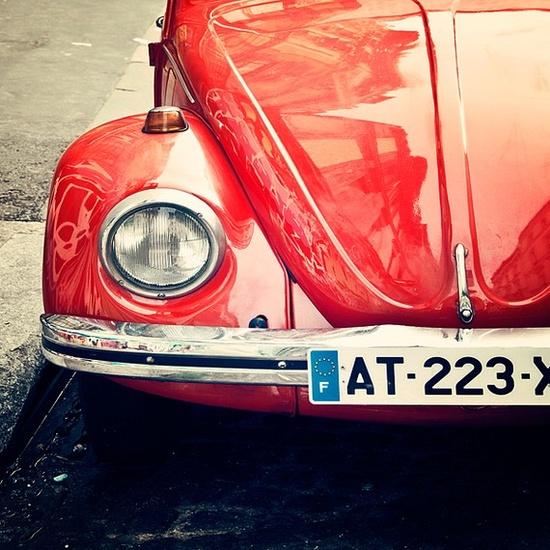 Rouge- pop of crimson, pomegranate, rose red- Vintage Car- Montmartre, Paris France- vinage retro car fun pop of color Fine Art Photography by Tracey Capone. #cars #photography #Paris #VW #Tracey_Capone