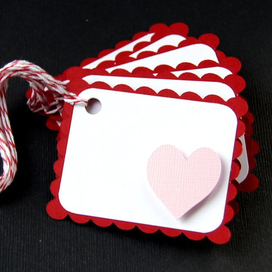 Valentine Gift Tags Qty 6  RAISED HEART in Emma Pink by scrapbits, $3.50