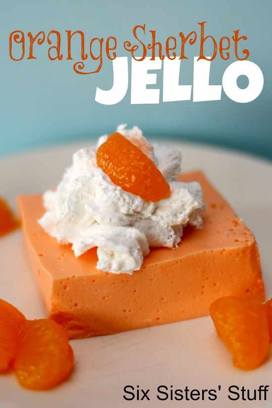 Orange Sherbet Jello from sixsistersstuff.com.  This recipe is so yummy and smooth. Serve it as dessert or a side dish- I guarantee your eaters will love it. #recipes #jello