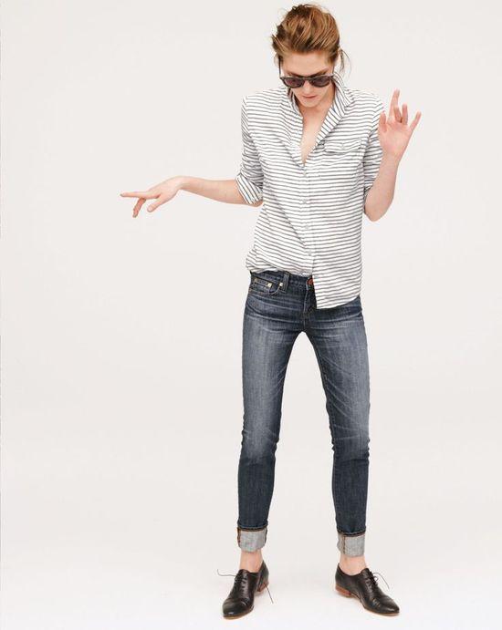 J.Crew boy shirt in oxford stripe / rolled skinnies~
