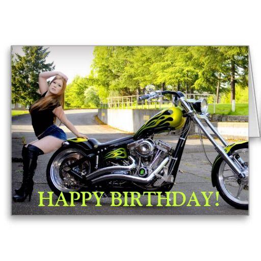 Custom Chopper and Bikini model birthday card