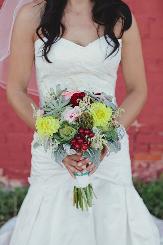 succulent + berry bouquet // photo by Shari + Mike Photographers // florals by Fresh