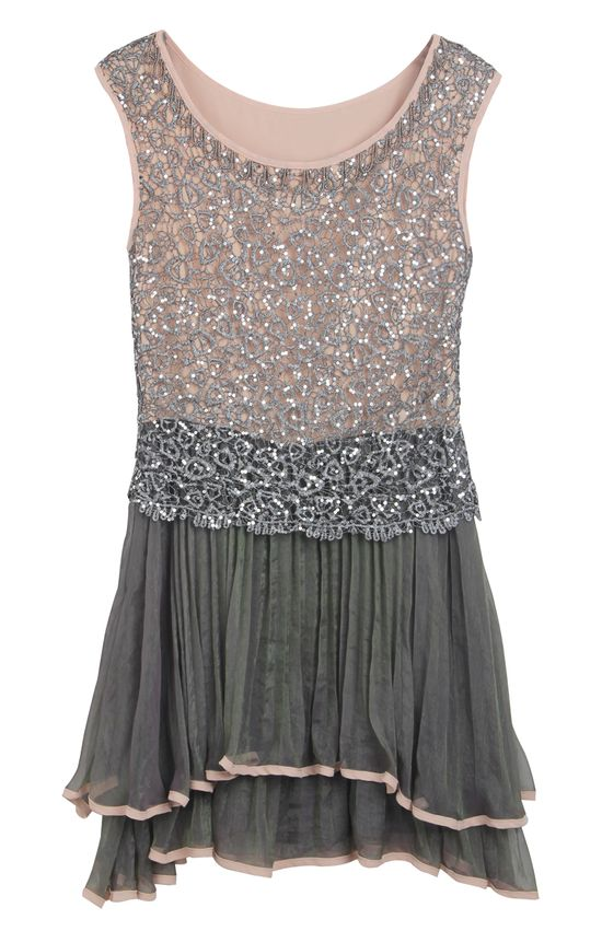 Grey Sleeveless Sequined Pleated Bead Dress
