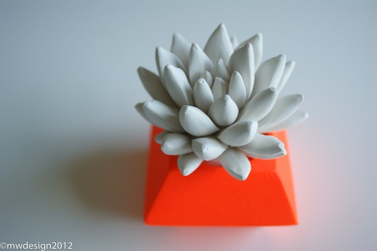 Neon Orange Modern Faceted Geometric Polyhedron Container, White Succulent Sculpture, Tabletop Centerpiece