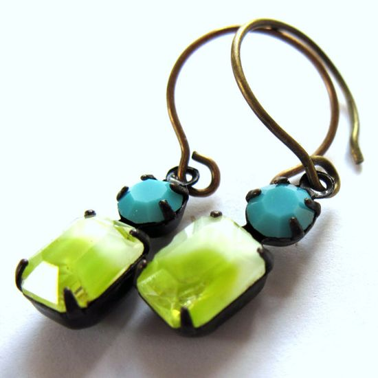Vintage Style Glass Earrings Lime Turquoise by gimmethatthing, £9.50