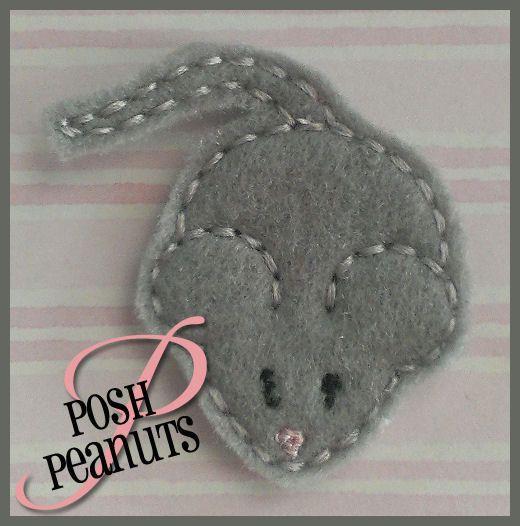 UNCUT Machine Embroidered Hand Made Felt / Felties Mouse Embellishments / Appliques