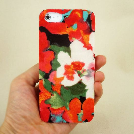 Flower iPhone 4 / 4S Case - Fabric iPhone 4/4S Case - Print iPhone 5 Case - Flower iPhone 5 case - Fabric iPhone 5 Case on Etsy, $21.99