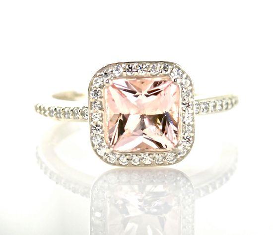 14K Princess Morganite Diamond Ring by RareEarth, $982.00