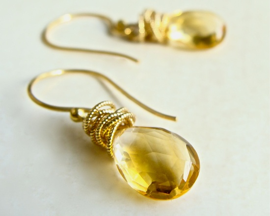 Tidal Earrings with Citrine Wire Wrapped in Gold Fall Fashion.