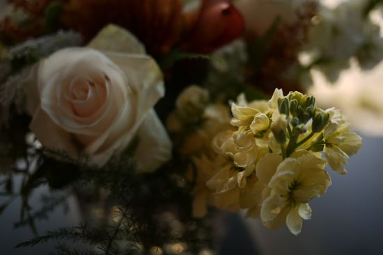 Autumn Flower Arrangement with yellow Stock and Pinkish White Roses