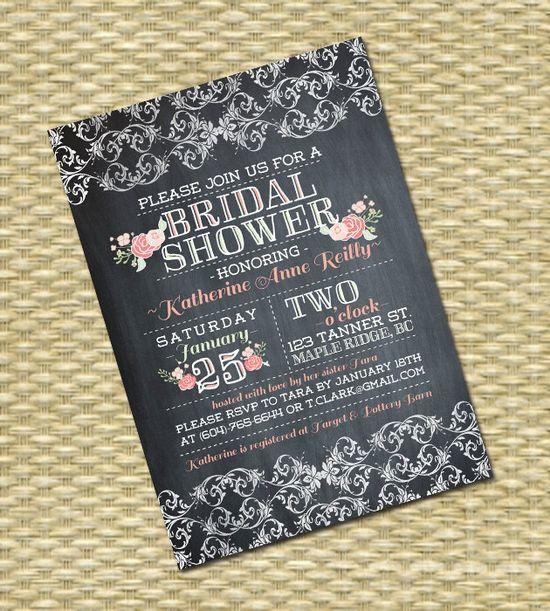 Wedding/Bridal or Baby Shower Invitation - Chalkboard Portrait Garden Blooms Typography w/Damask Lace  - Birthday Invitation. $18.00, via Etsy.