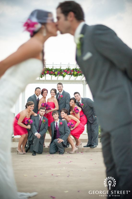 Such a great way to get a shot of the bridal party with the bride & groom!