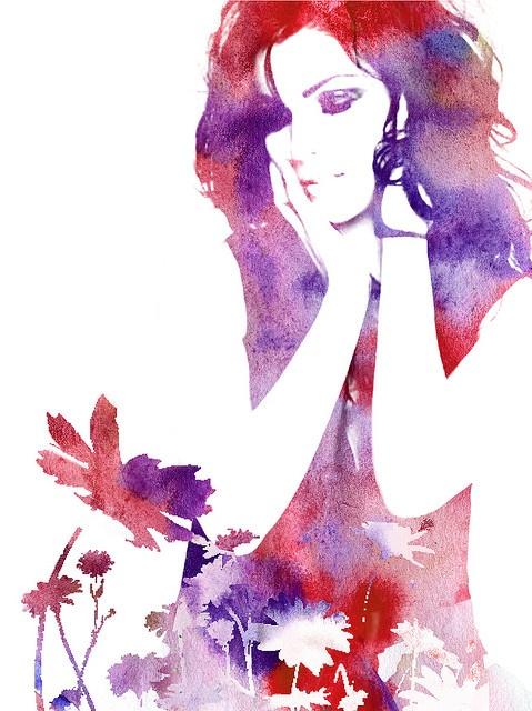 Red watercolor flowers by Xelyah