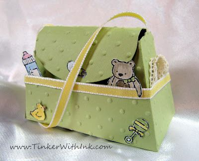 Sizzix Stampin' Up Petite Purse die. Project by Christy Butzen.