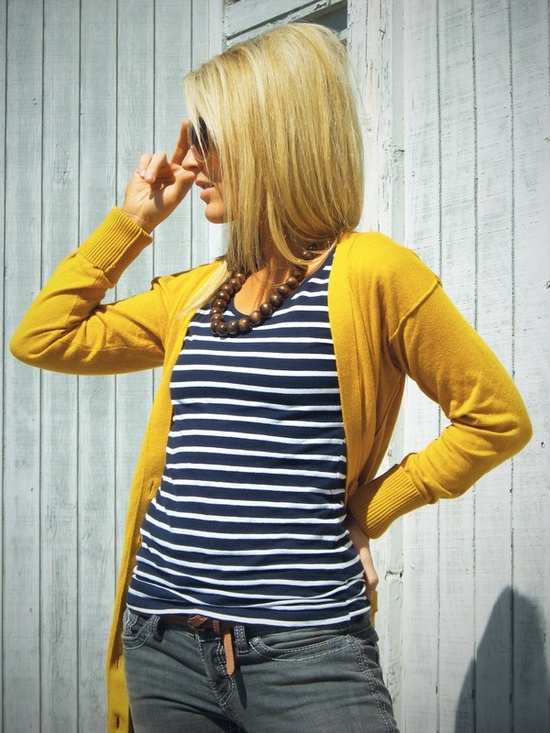 navy stripes and mustard cardigan.
