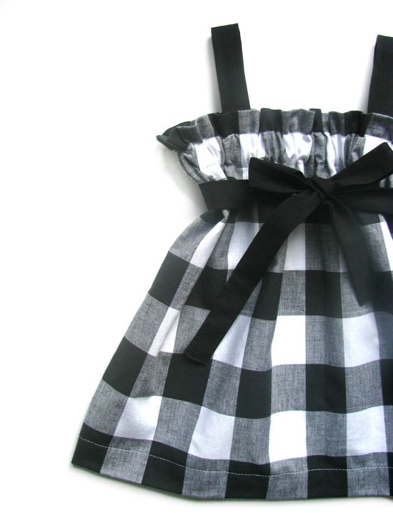 Baby Girls Dress- Black and White- Gingham Print- Belt Included.