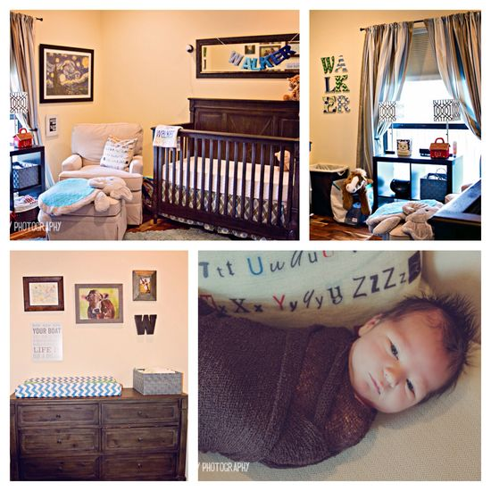 Baby boy blues and browns nursery